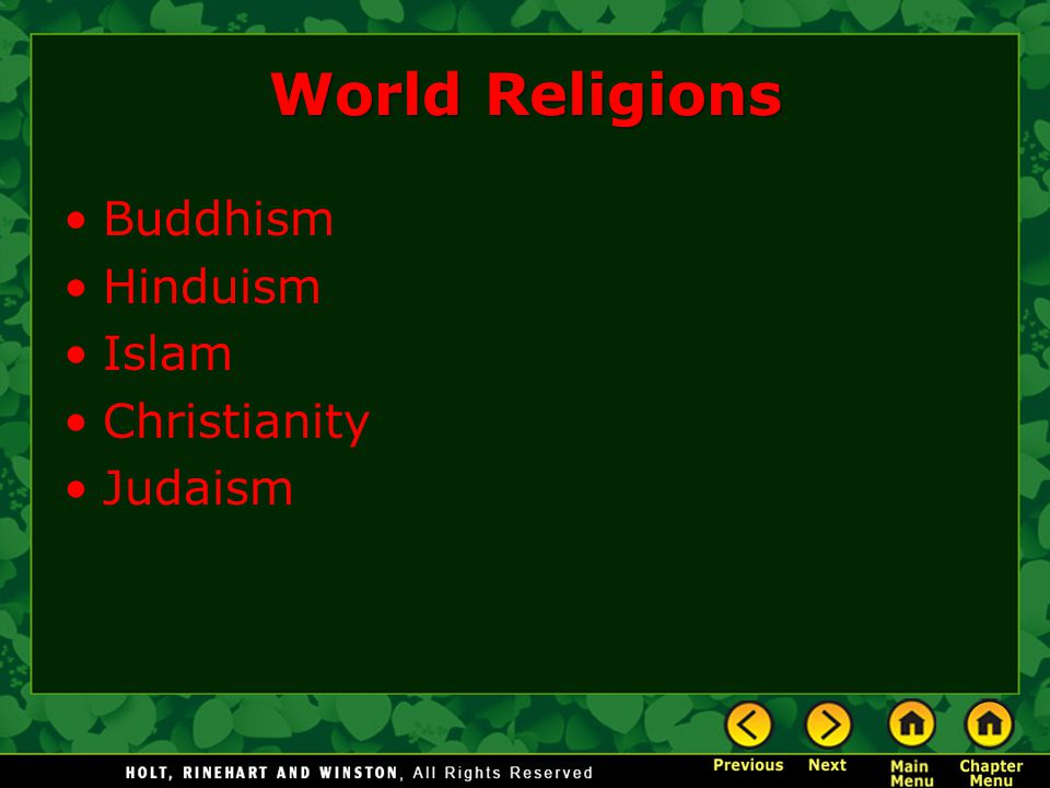 World Religions Buddhism Hinduism Islam Christianity Judaism