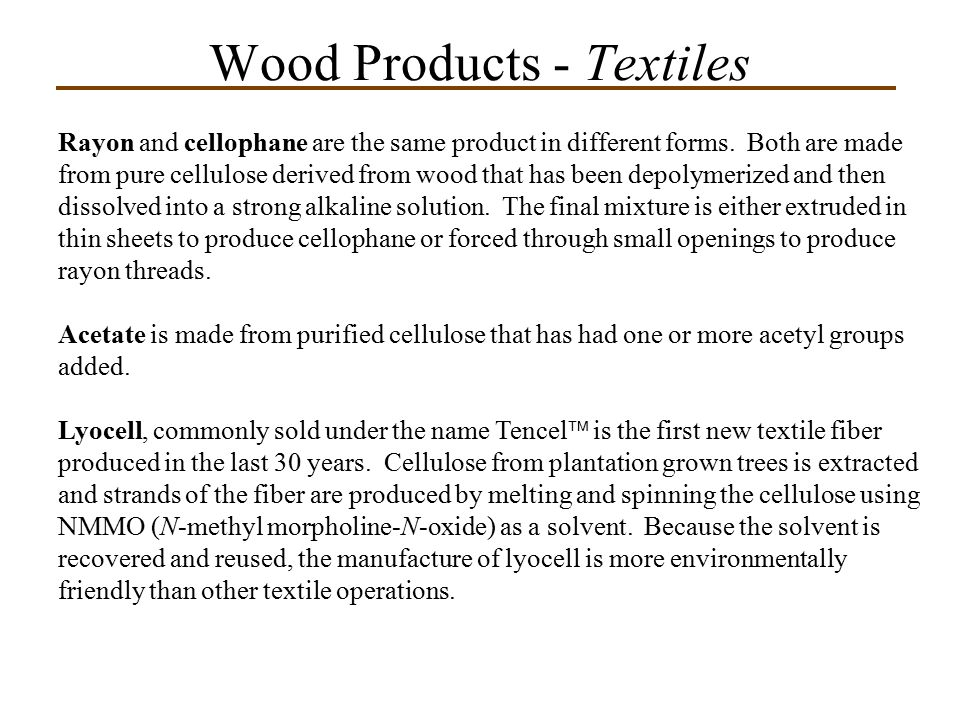 Wood Products - Textiles