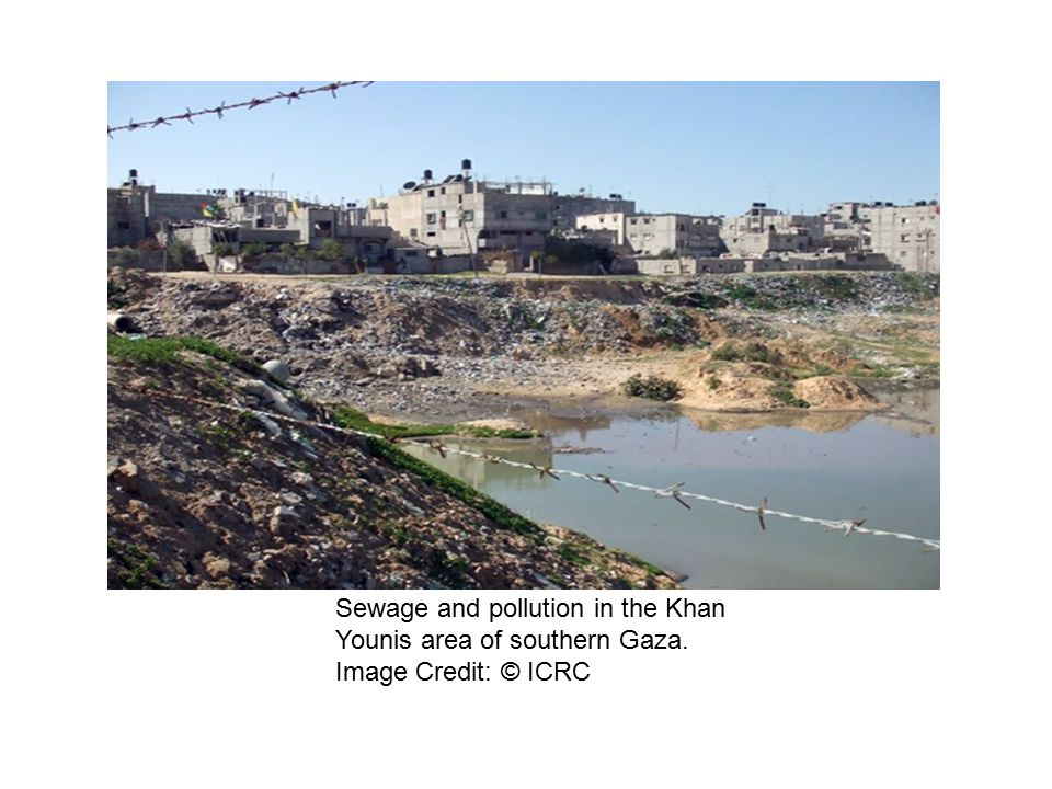 Sewage and pollution in the Khan Younis area of southern Gaza