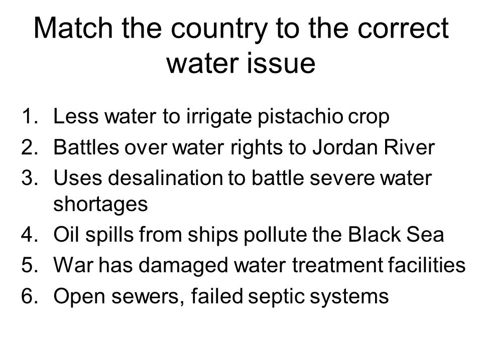 Match the country to the correct water issue