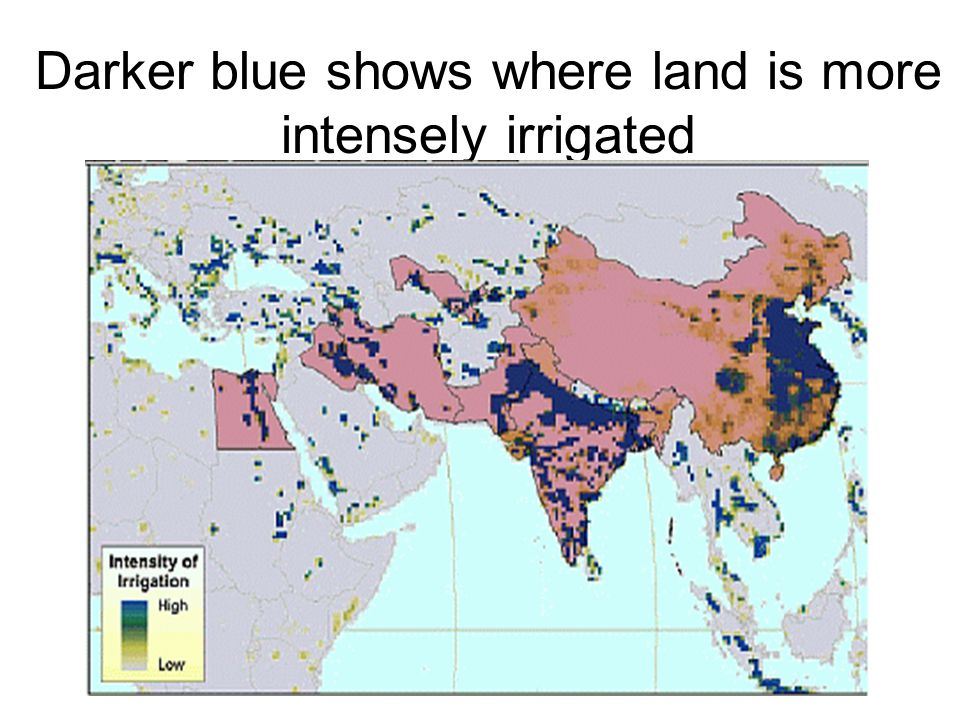Darker blue shows where land is more intensely irrigated