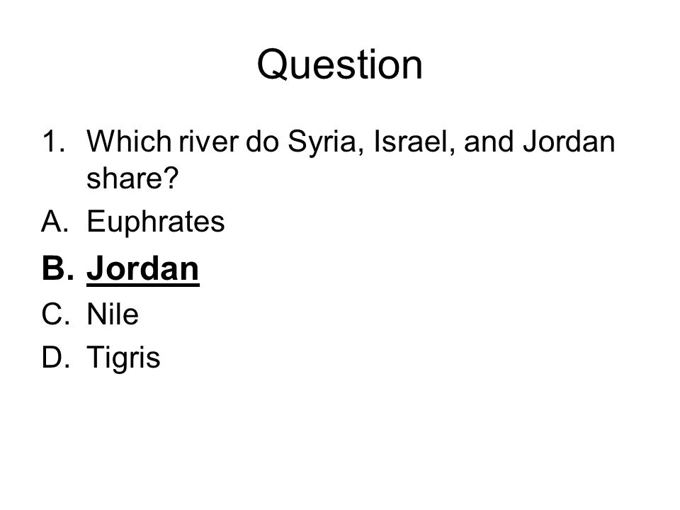 Question Jordan Which river do Syria, Israel, and Jordan share