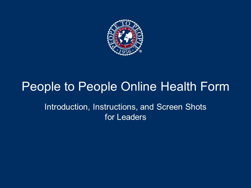 People to People Online Health Form