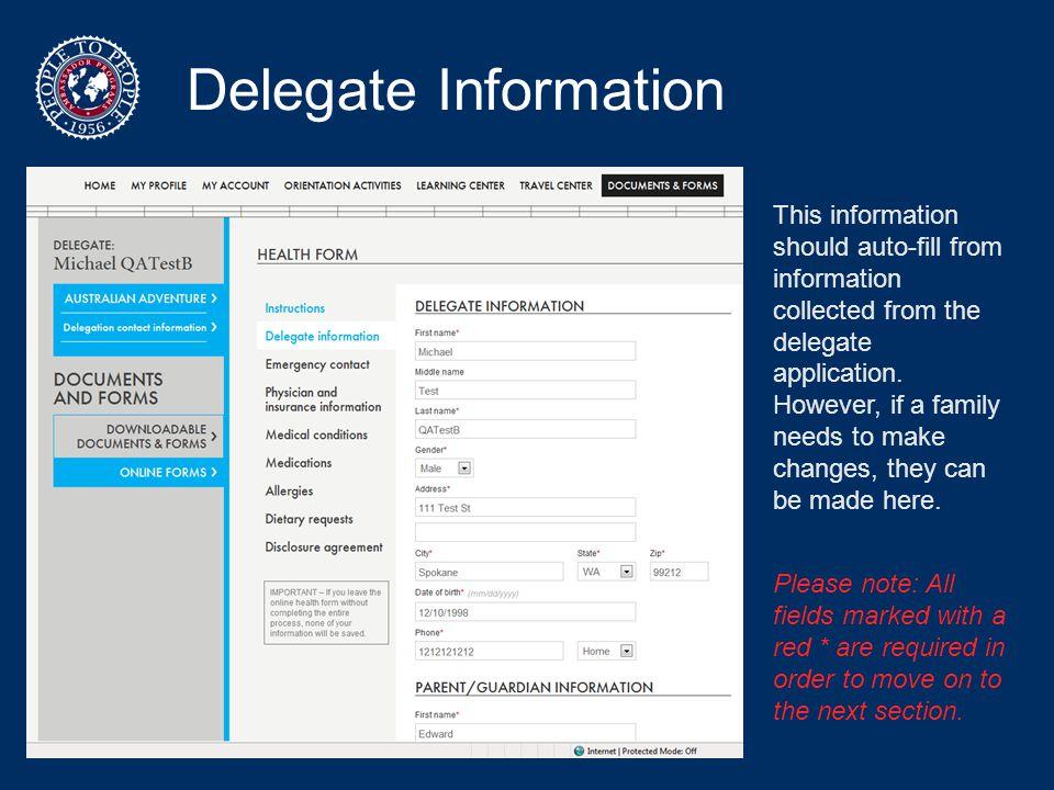 Delegate Information