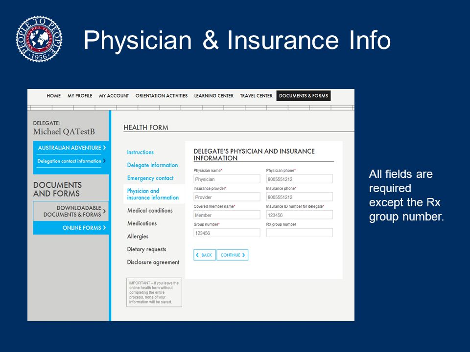 Physician & Insurance Info