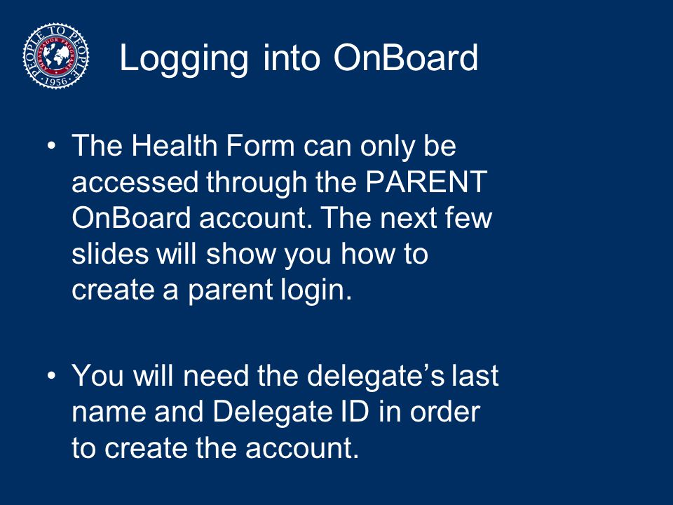 Logging into OnBoard