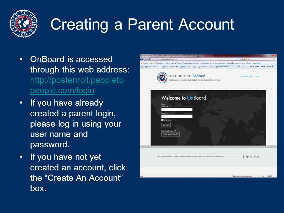 Creating a Parent Account