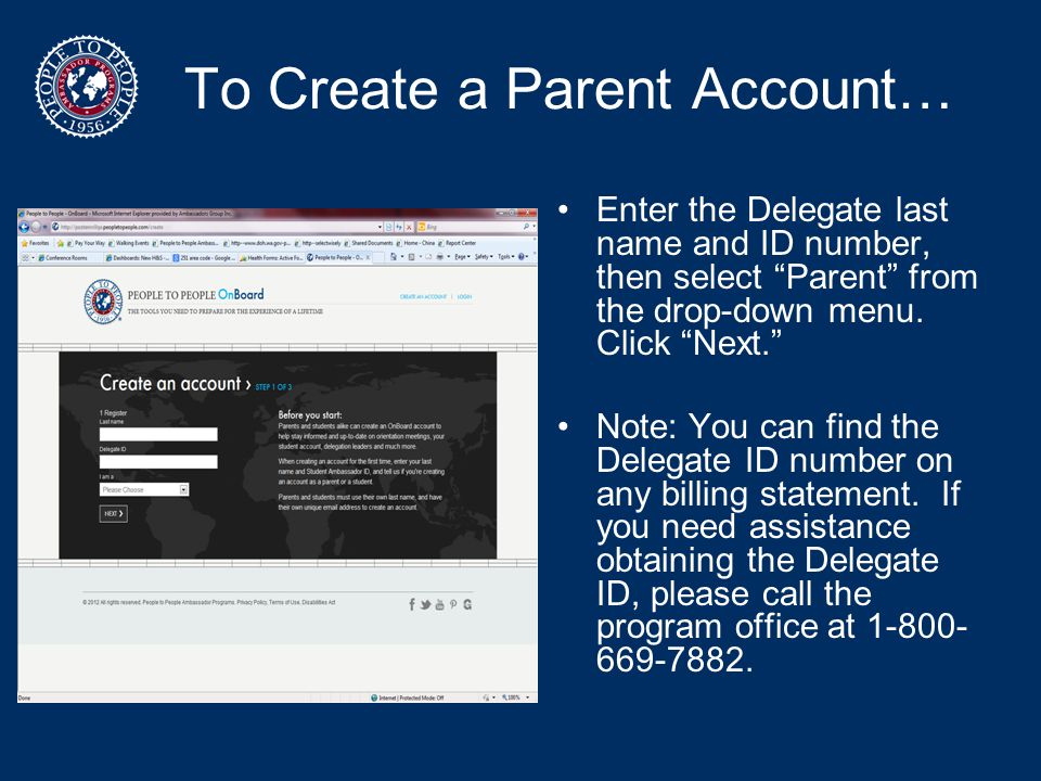 To Create a Parent Account…