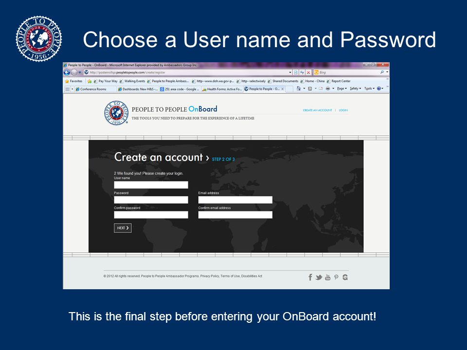 Choose a User name and Password
