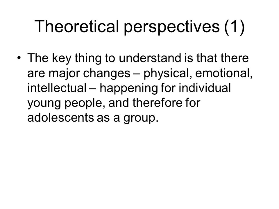 Theoretical perspectives (1)
