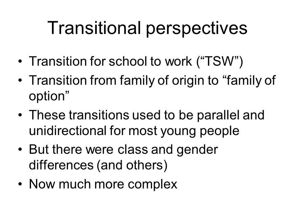 Transitional perspectives