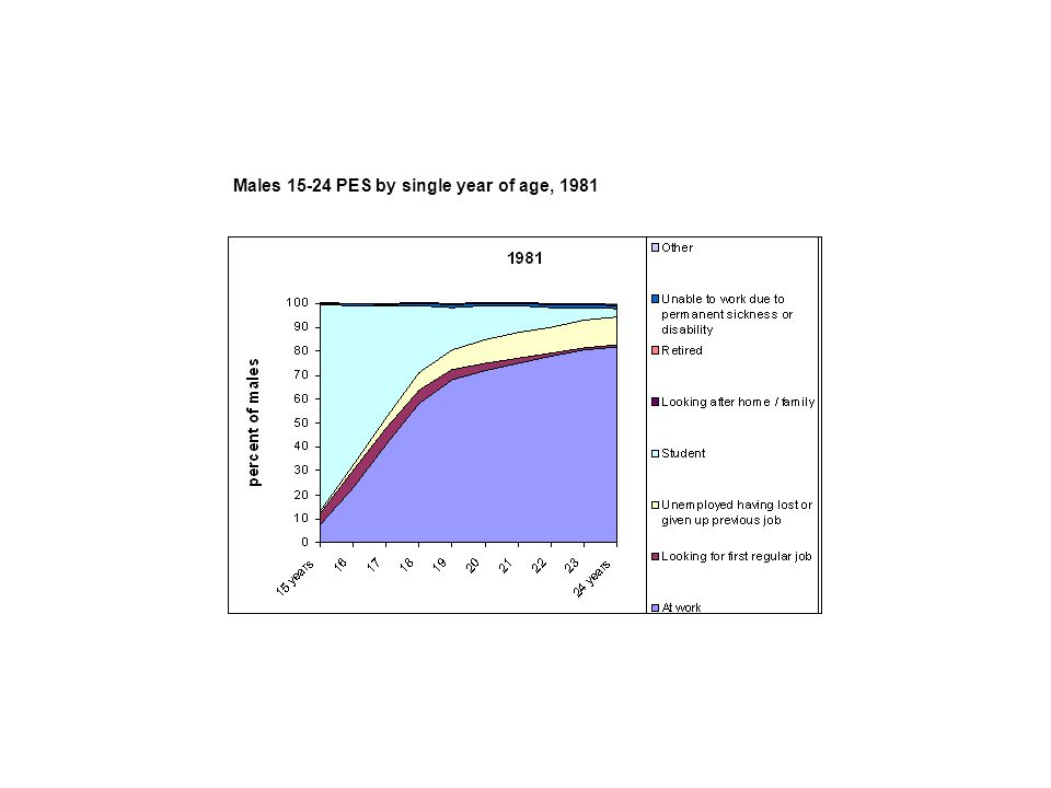 Males 15-24 PES by single year of age, 1981