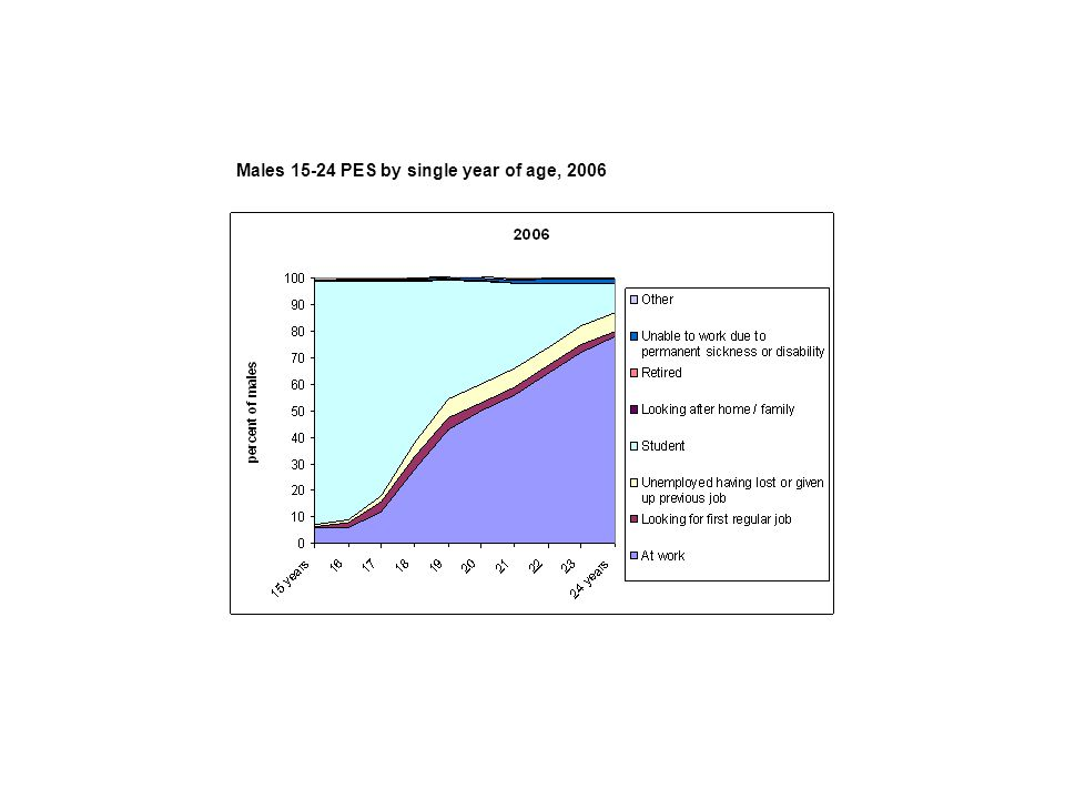 Males 15-24 PES by single year of age, 2006