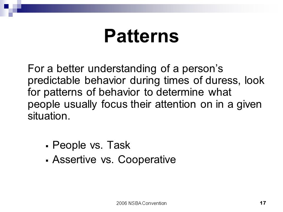Patterns People vs. Task Assertive vs. Cooperative