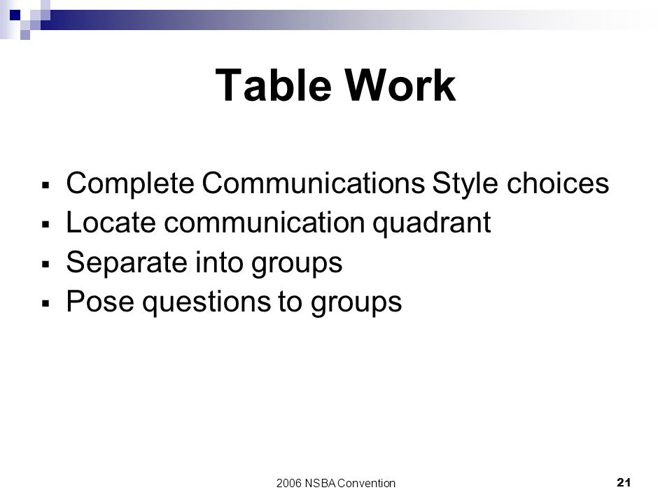 Table Work Complete Communications Style choices