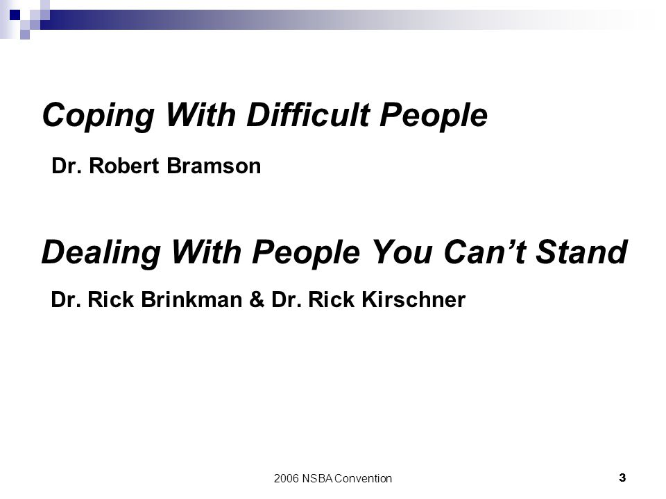 Coping With Difficult People Dr