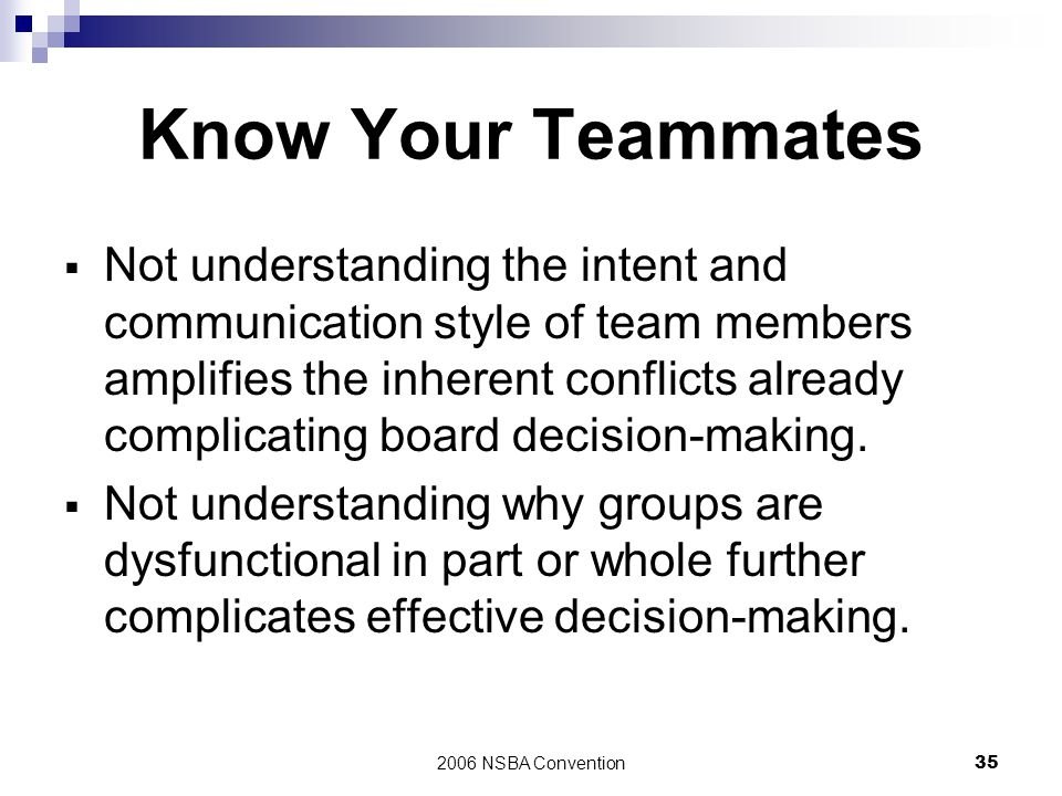 Know Your Teammates