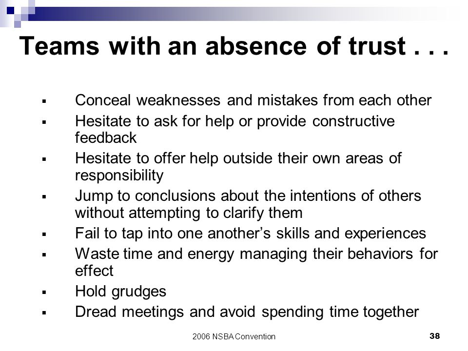 Teams with an absence of trust . . .