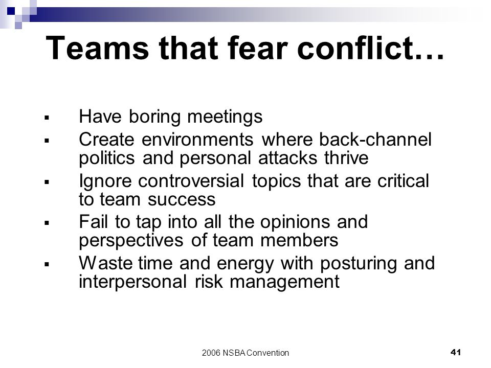Teams that fear conflict…