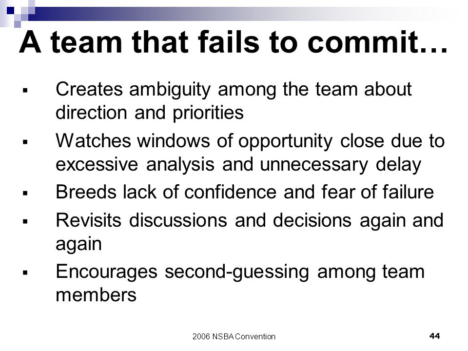 A team that fails to commit…
