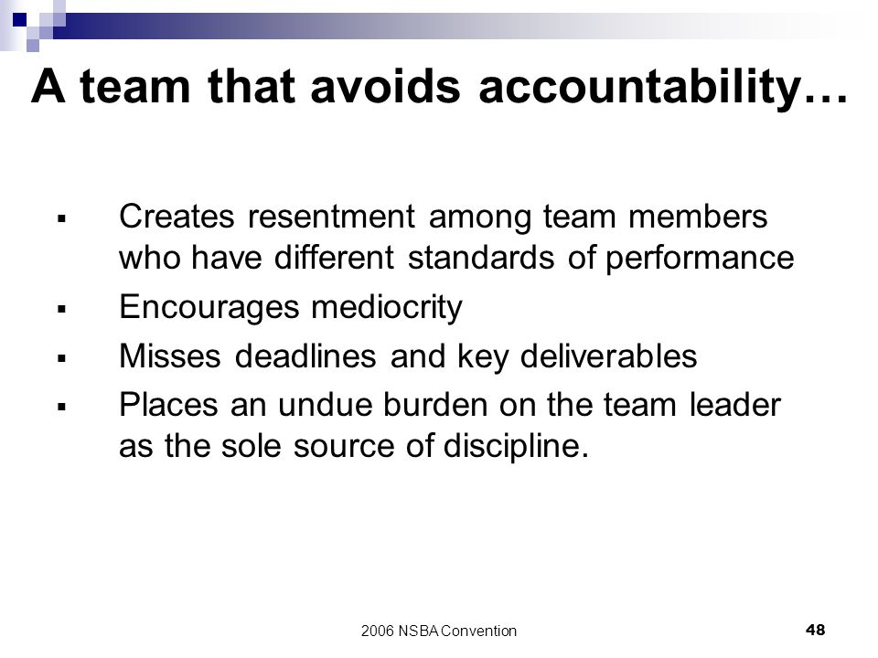 A team that avoids accountability…