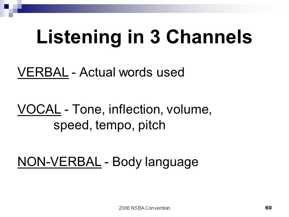 Listening in 3 Channels VERBAL - Actual words used