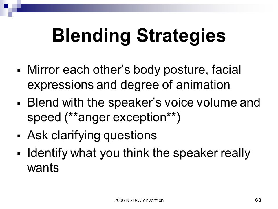 Blending Strategies Mirror each other's body posture, facial expressions and degree of animation.