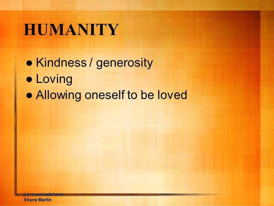 HUMANITY Kindness / generosity Loving Allowing oneself to be loved