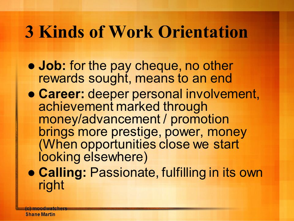3 Kinds of Work Orientation