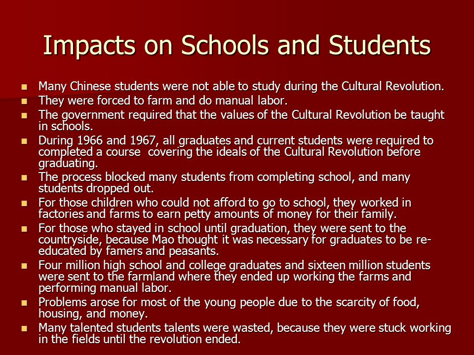 Impacts on Schools and Students