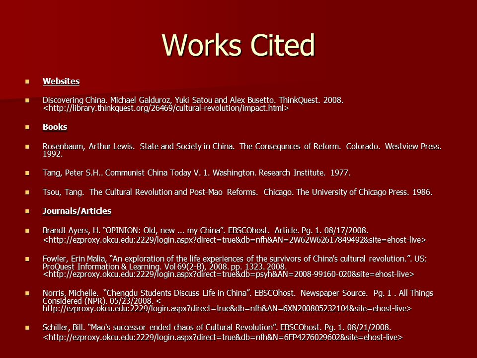Works Cited Websites.