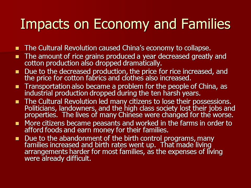 Impacts on Economy and Families