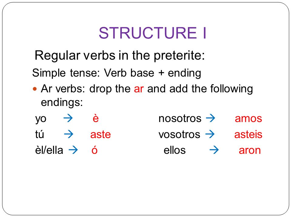 STRUCTURE I Simple tense: Verb base + ending