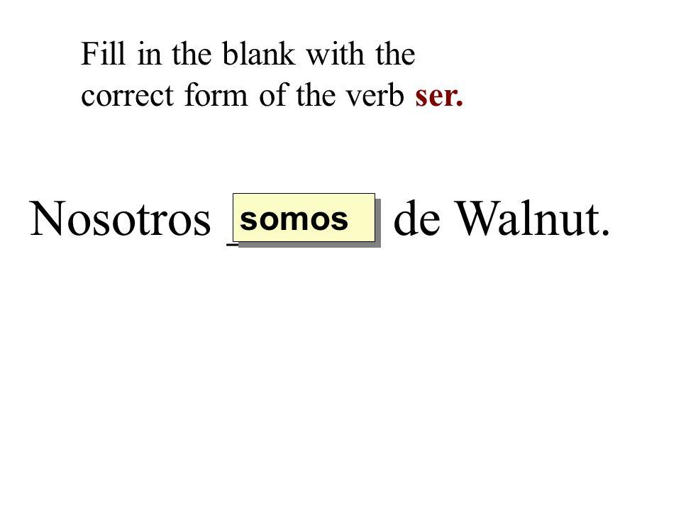 Nosotros ______ de Walnut.