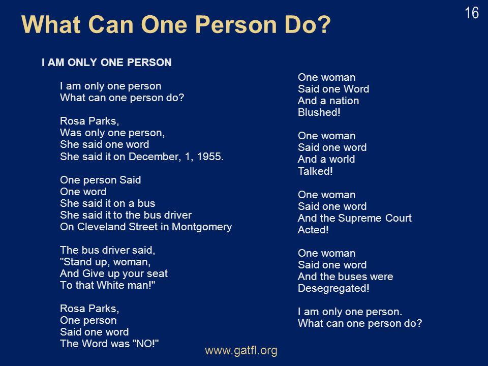 What Can One Person Do www.gatfl.org