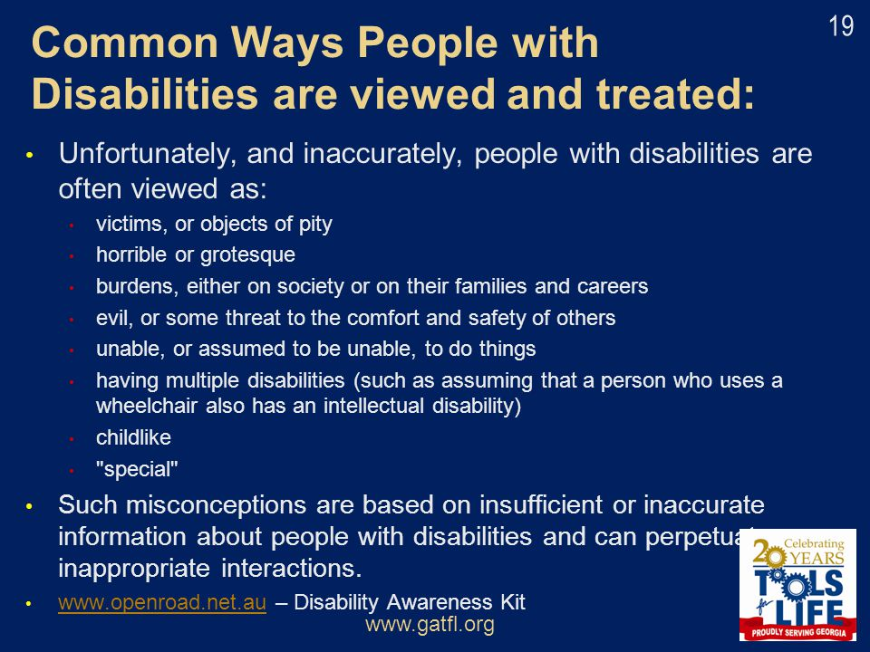 Common Ways People with Disabilities are viewed and treated: