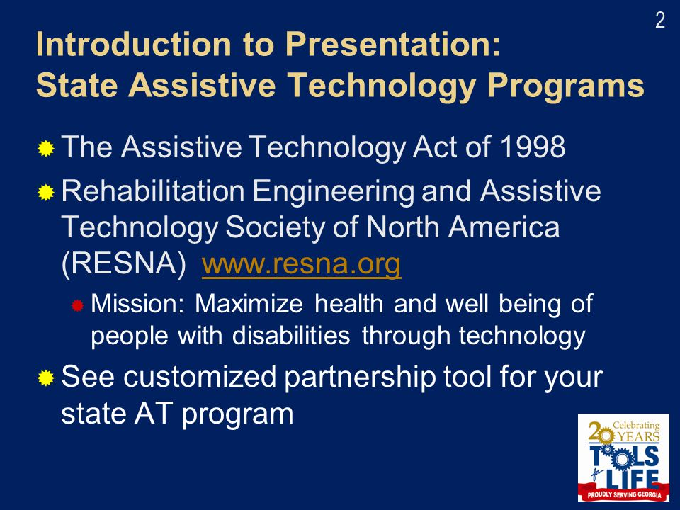Introduction to Presentation: State Assistive Technology Programs