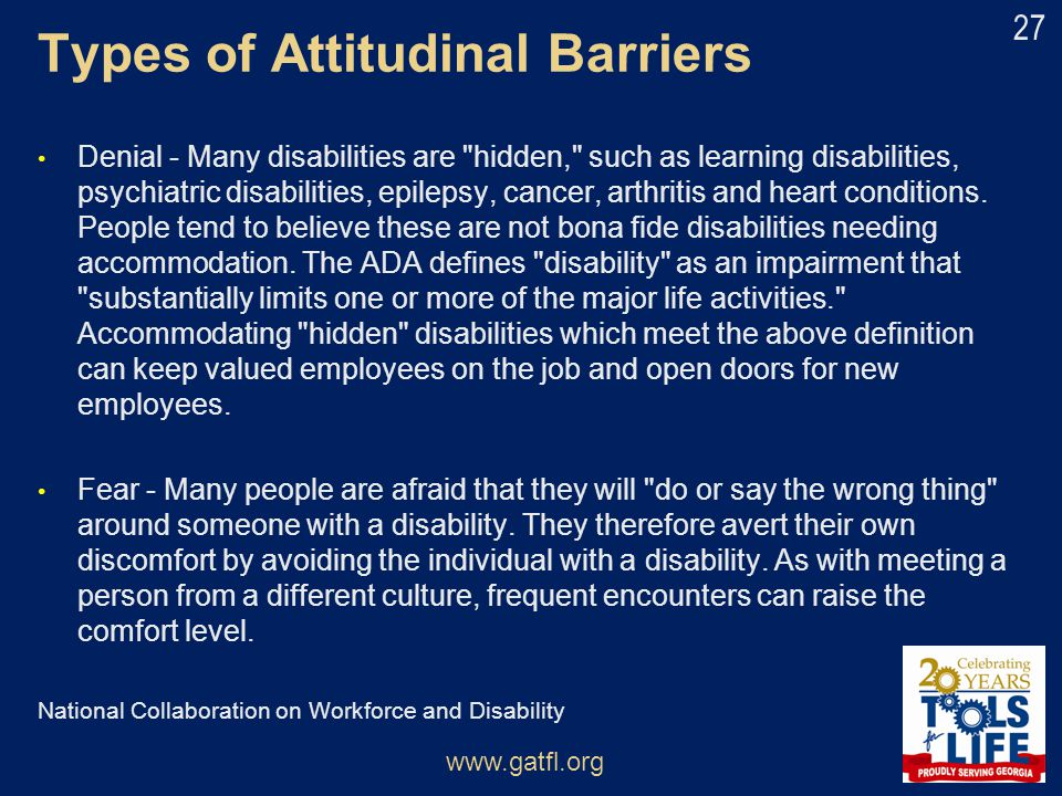 Types of Attitudinal Barriers