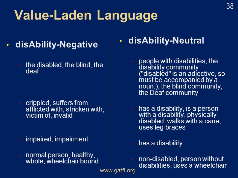 Value-Laden Language disAbility-Neutral disAbility-Negative