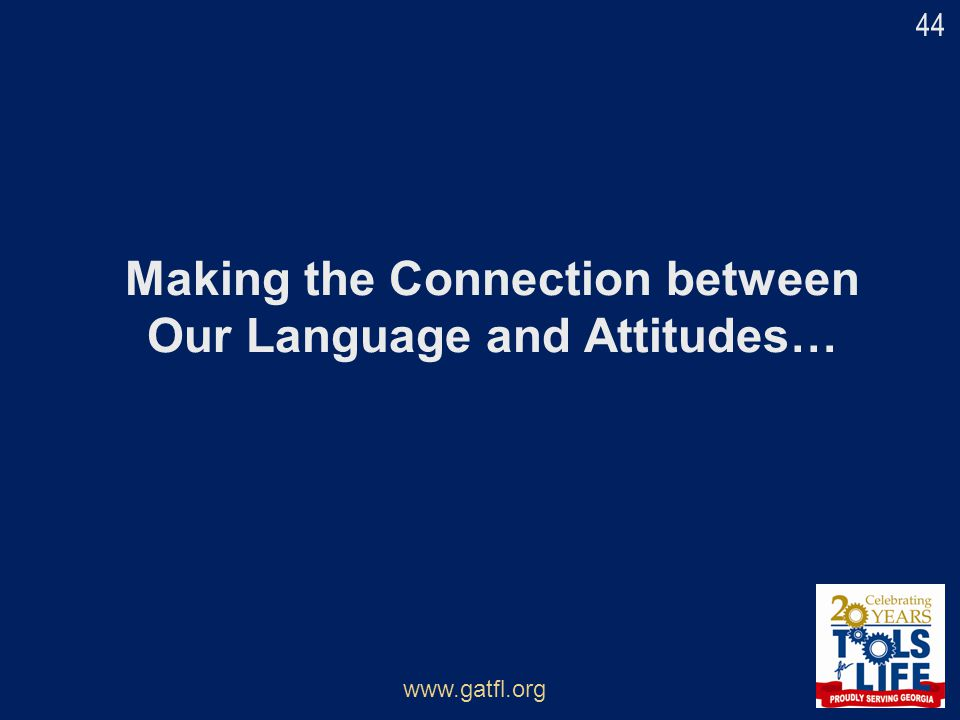 Making the Connection between Our Language and Attitudes…
