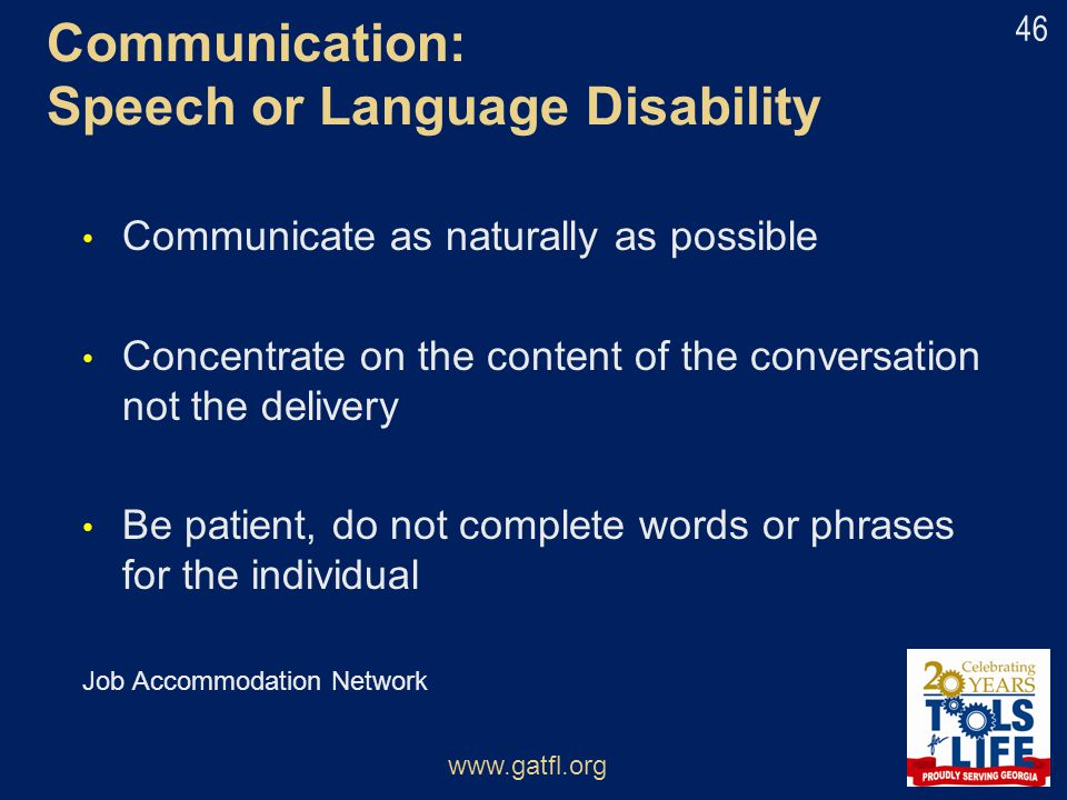Communication: Speech or Language Disability