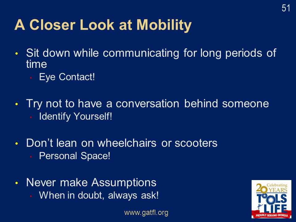 A Closer Look at Mobility
