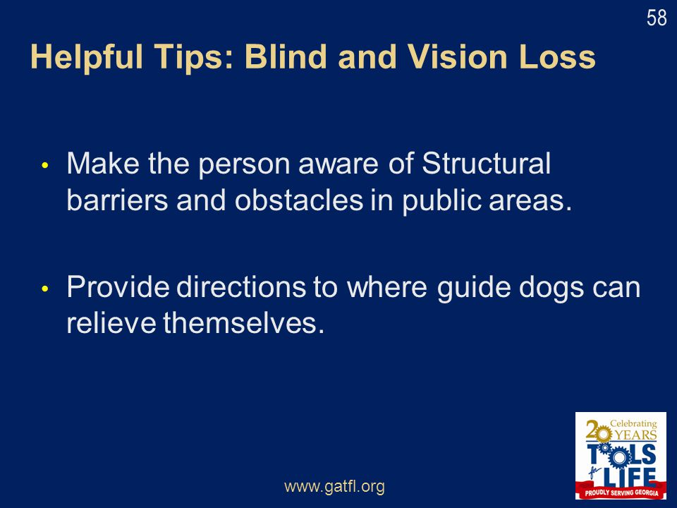 Helpful Tips: Blind and Vision Loss