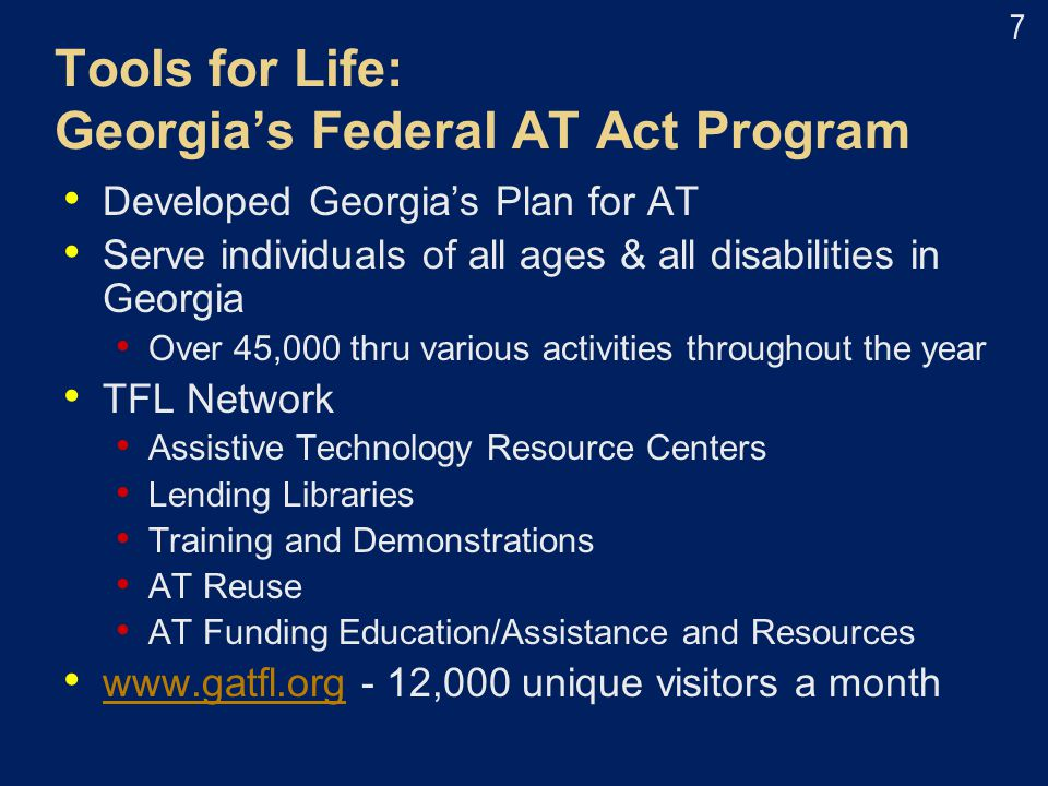 Tools for Life: Georgia's Federal AT Act Program