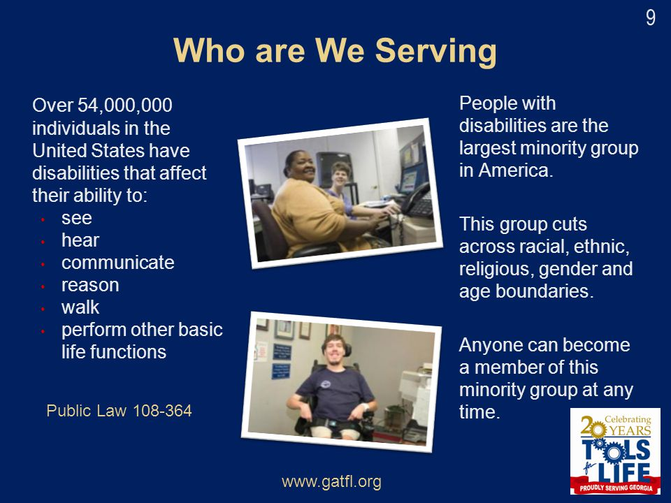 Who are We Serving Over 54,000,000 individuals in the United States have disabilities that affect their ability to:
