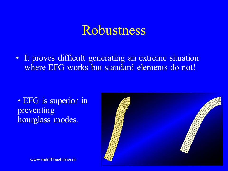 Robustness It proves difficult generating an extreme situation where EFG works but standard elements do not!
