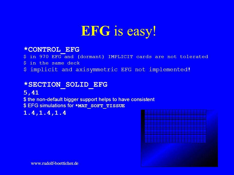 EFG is easy! *CONTROL_EFG *SECTION_SOLID_EFG 5,41 1.4,1.4,1.4