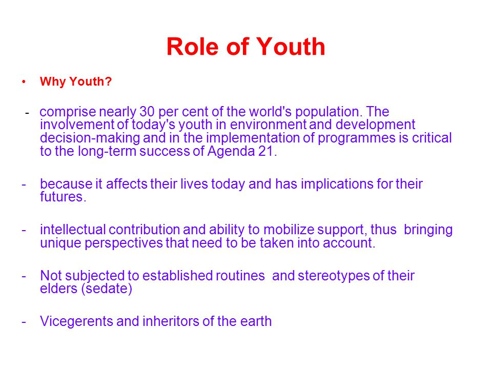 Role of Youth Why Youth