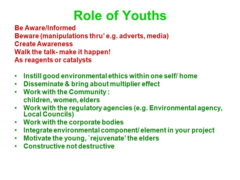 Role of Youths Be Aware/Informed