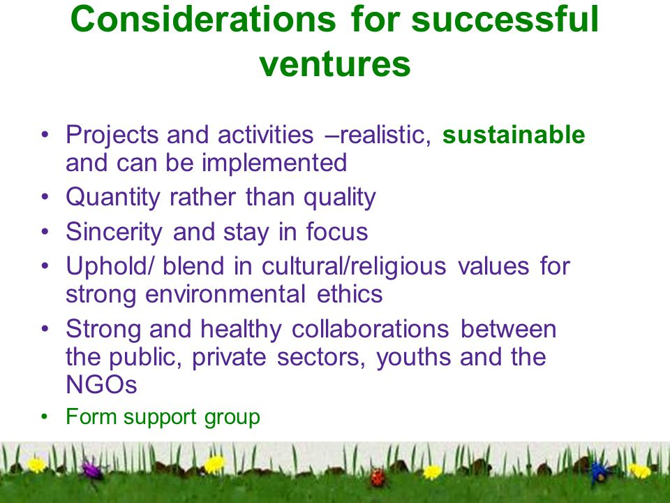Considerations for successful ventures